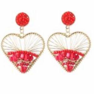 Red bohemian heart style earrings